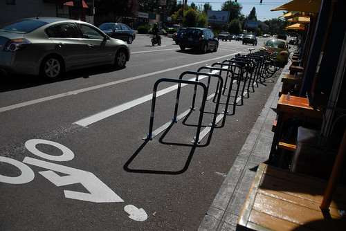 New bike parking on Glisan at 28th-1