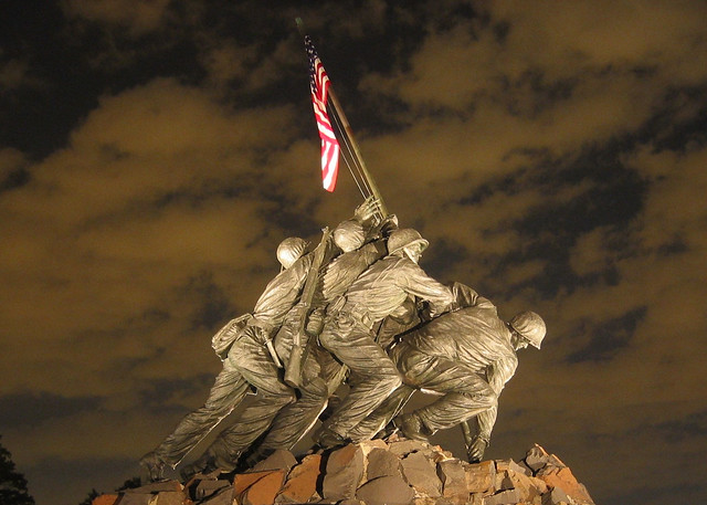 USMC Iwo Jima War Memorial at Night, World War II, Veteran Soldiers, American Flag
