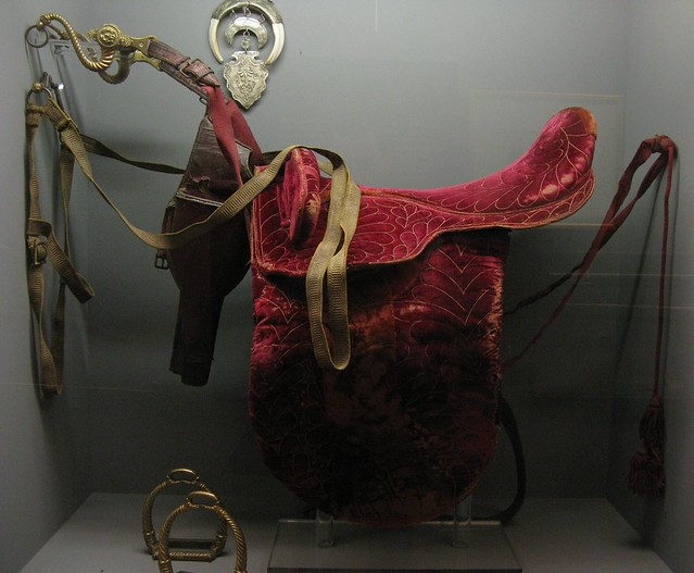 Leather horse saddle of N. Kriezotis. National Historical Museum, Athens, Greece