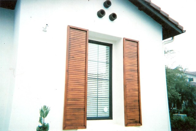 Faux wood shutters flickr photo sharing for Exterior shutters that look like wood