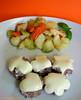 Mini hamburger con verdure al vapore