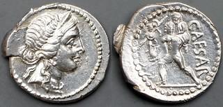 458/1 Julius Caesar Denarius CAESAR. Venus Aeneas Anchises, AM#08106-38
