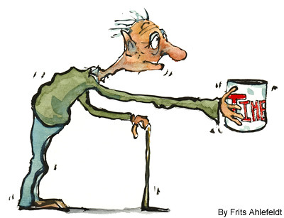 A cartoon of a man clutching a can labelled time