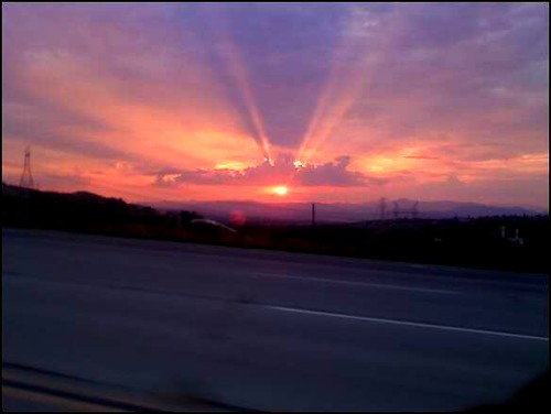 california road sunset red summer orange sunlight storm sol clouds atardecer losangeles highway ray horizon cielo freeway nubes tropical southerncalifornia 2008 santaclaritavalley monsoonal