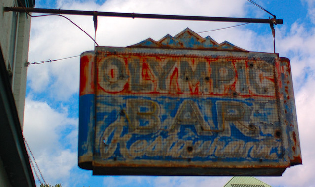 Olympic Bar and Restaurant sign, Albany, N.Y.  Nikon D70 camera, lens unknown.  Photo by Chuck Miller