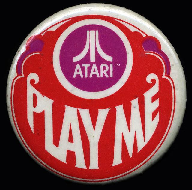 Atari Play Me Pinback