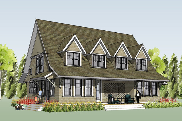 Marine cottage house plan rendering flickr photo sharing Simply elegant house plans
