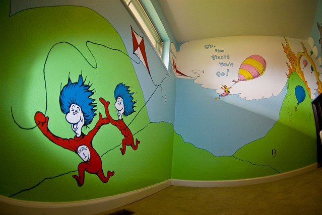 Dr seuss nursery things 1 and 2 flickr photo sharing for Dr seuss mural nursery