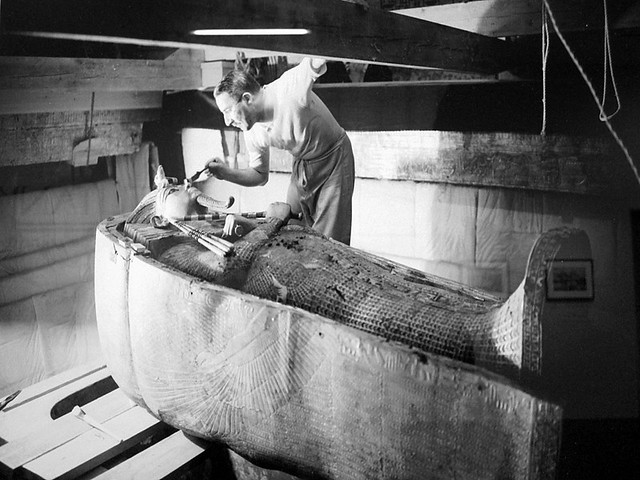 howard carter and the tomb of king tut Behind that closed doorway was the tomb-chamber, and that tutankhamen probably lay there in all his magnificent panoply of death - we had found that monarch's burial place intact save certain metal-robbing, and not his cache.