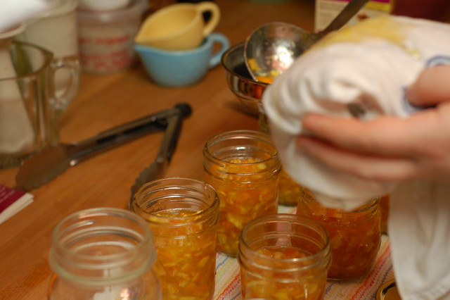 Filling the jars