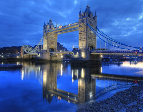 Tower Bridge photographed at dusk.