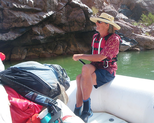 Legendary Colorado River Boatman, author, historian and storyteller Brad Dimock as paddle captain