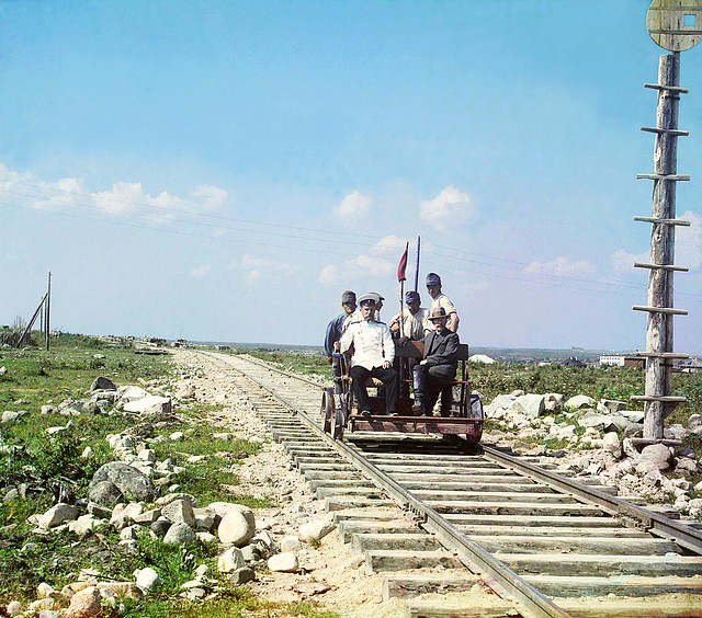 On the trolley near Petrozavodsk by Murman Railway, 1915
