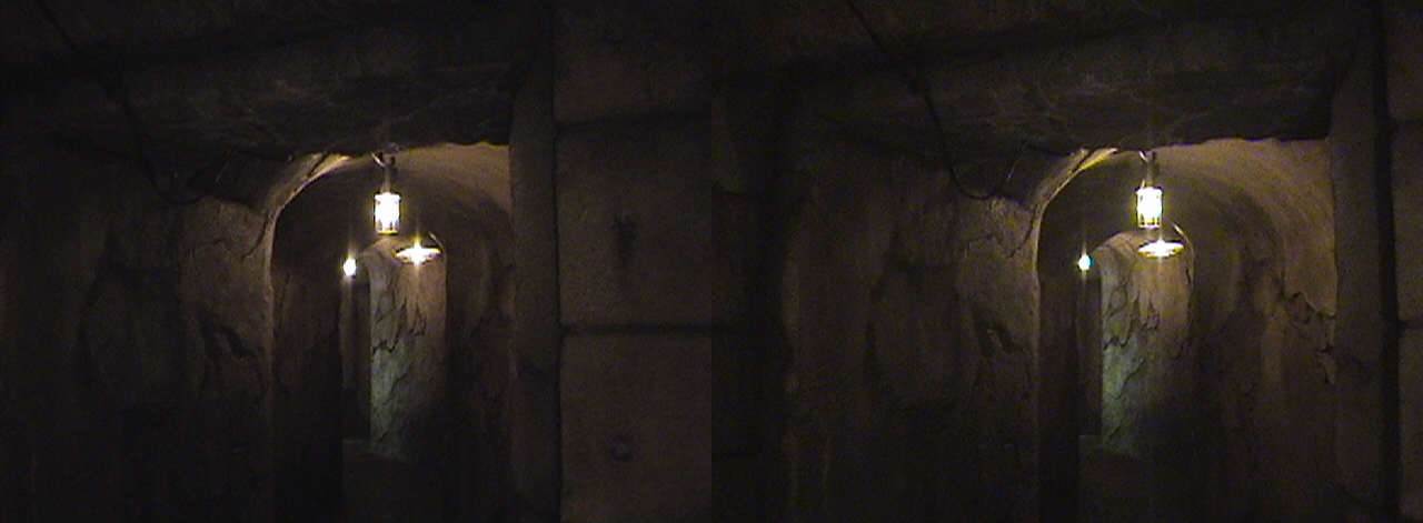 3D, View back to Anteroom from Obelisk of Doom, Buried Colonnade, Queue, Indiana Jones™ Adventure - The Temple of the Forbidden Eye, Adventureland, Disneyland®, Anaheim, California, 2009.02.23 13:27