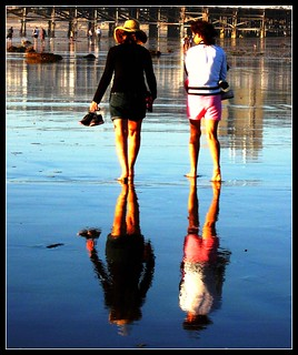 Women Walking the Beach, Barefoot Strollers, San Diego, Califoria