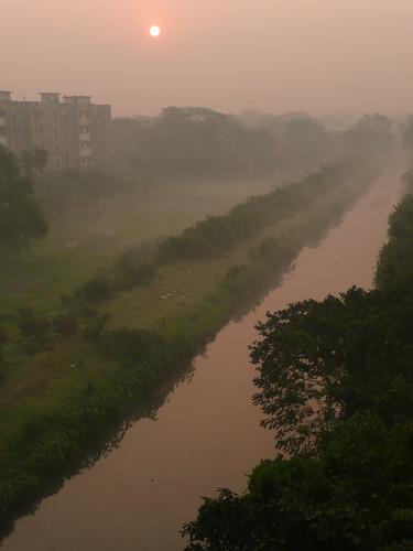 pink india mist green sunrise landscape kolkata westbengal touristing boatcanal durgapurbridge