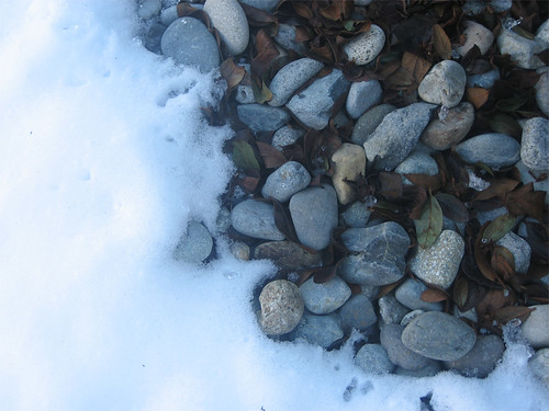 March snow and rocks