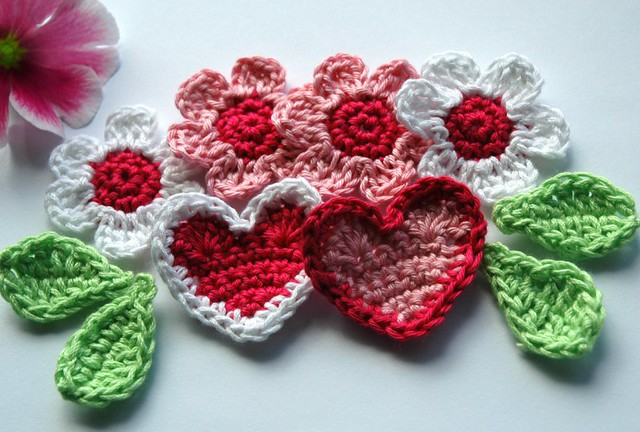 Flowers and hearts crochet applique anniedesign flickr
