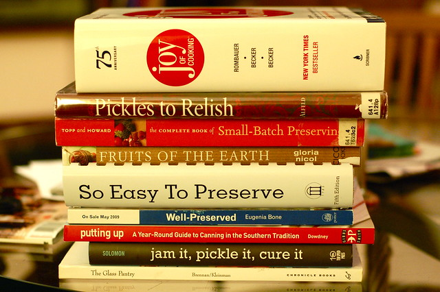 Books, mostly about canning