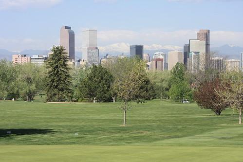 Mount Evans and Denver skyline