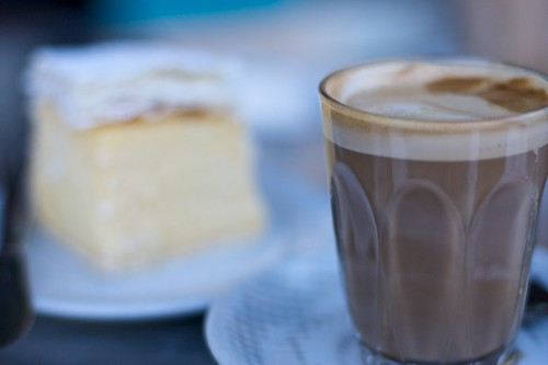 Cafe Latte with Vanilla Slice