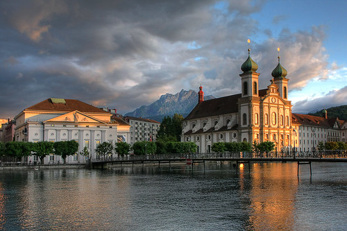 bridge mountain mountains church horizontal landscape switzerland catholic power suisse glory religion rivière pilatus pont baroque église hdr montagnes concerthall swissalps jesuits reuss gutsch jesuitchurch riverreuss baroquechurch mywinners abigfave pilatusmountain citrit theperfectphotographer lucernesjesuitchurch