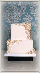 Ivory & Gold Bas-relief Wedding Cake