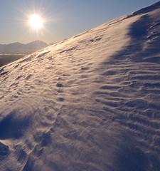 Snow on the slope of Finnlandsfjellet