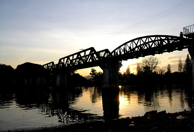 The Bridge over the River Kwai at sunset