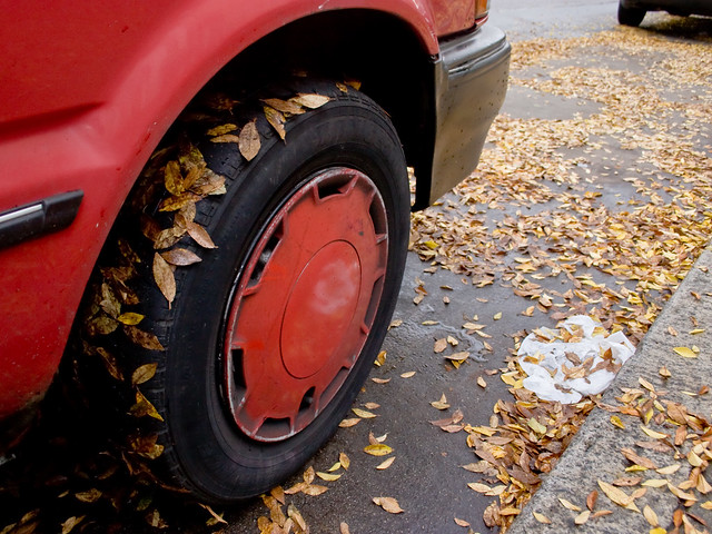 Red Painted Tire