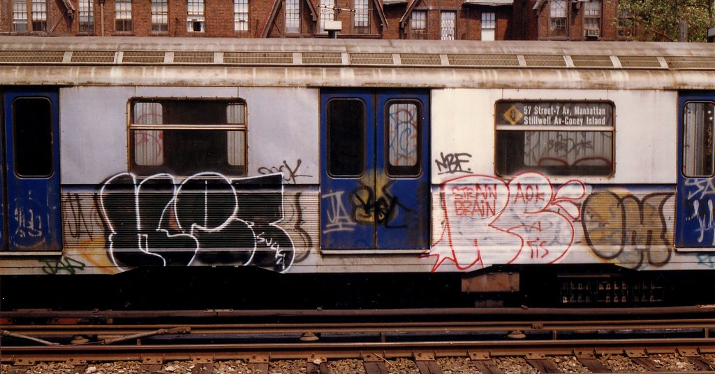 Ket and Reas throwups, Q train, 1988