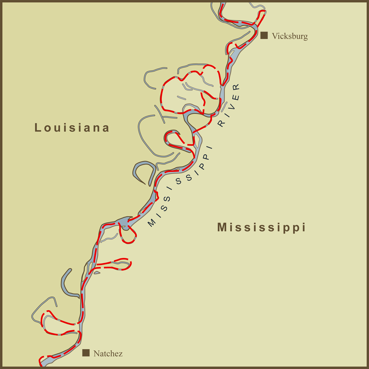 A Map Of The Louisiana  Mississippi State Border Along Th