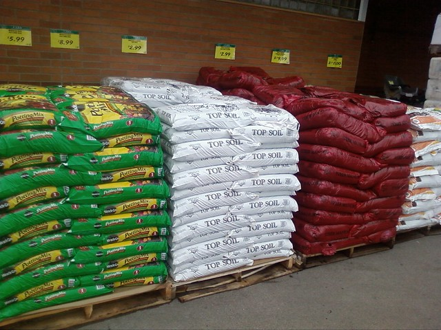 Bags of soil at haggen you can always tell when spring for Bags of topsoil