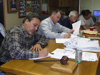 Union members participate in a letter writing campaign