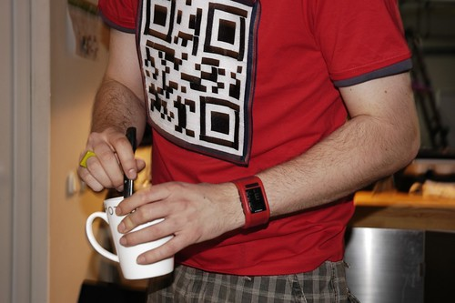 Velcro QR code T-shirt with a cup of coffee