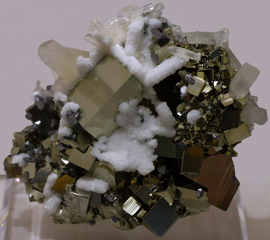 Pyrite on Calcite Specimen