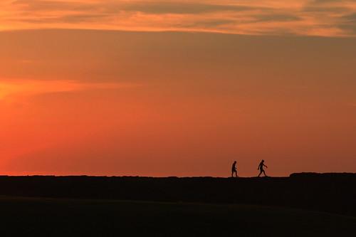 sunset silhouette scotland pier quay moray buckie