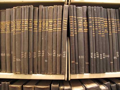 Books lined up on the library shelves