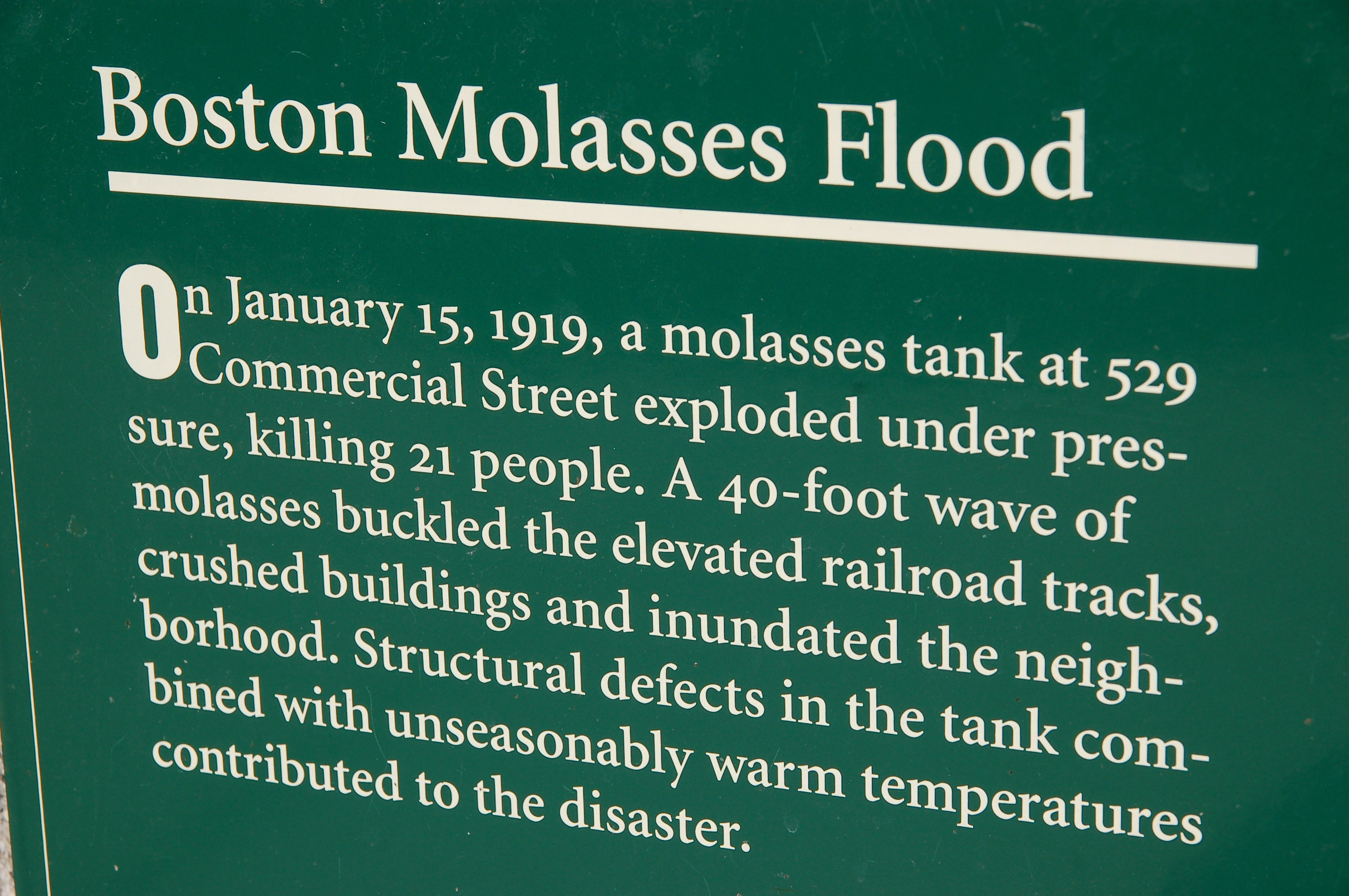 plaque on Commercial St. Boston, commemorating Molasses Flood