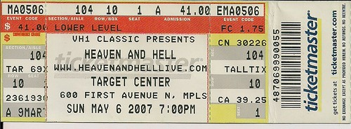 05/06/07 Heaven And Hell @ Minneapolis, MN (Ticket)