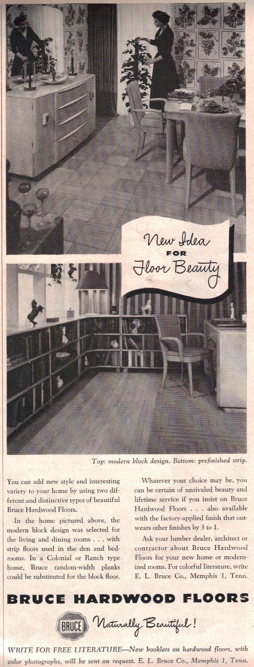 "Heywood Wakefield in ""Bruce Hardwood Floors"" Ad - House Beautiful Sept 1949"