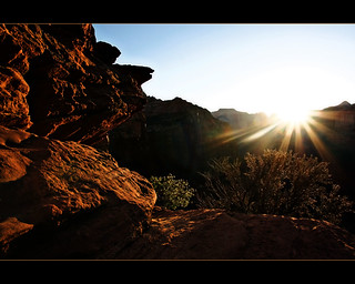 Setting sun at Zion National Park