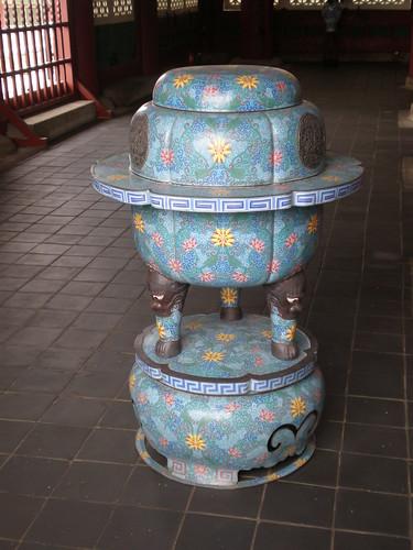 Blue vase, King's throne room, Geunjeongjeon, Gyeongbok Palace, Seoul