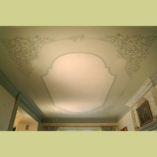 Stenciled ceiling in Dining Room. Elegant wall designs by Cutting Edge Stencils.