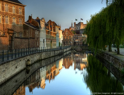 "buildings reflections belgium cityscapes sunsets canals rivers 1001nights reflexions ghent gent hdr marchaegeman abigfave colorphotoaward ""flickraward"""