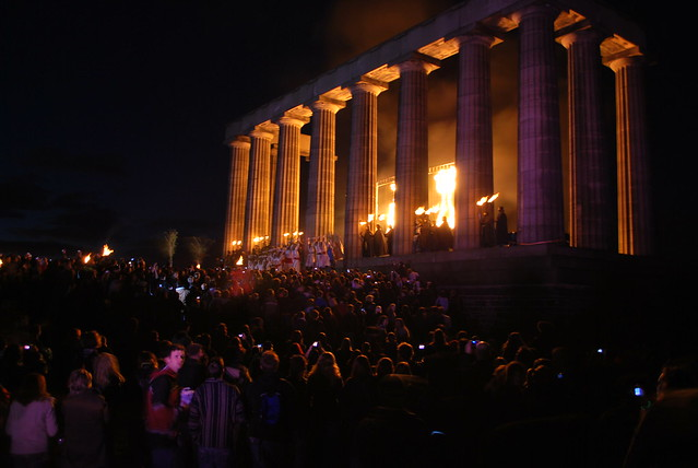 DSC_0329 Beltane Fire Festival 2009 - Calton Hill, Edinburgh - Flames at the Acropolis