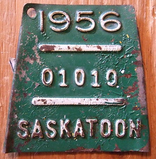 SASKATOON, SASKATCHEWAN 1956 BICYCLE LICENSE PLATE