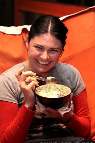 mischievous mom with ice cream, whipped cream, rainbow sprinkles