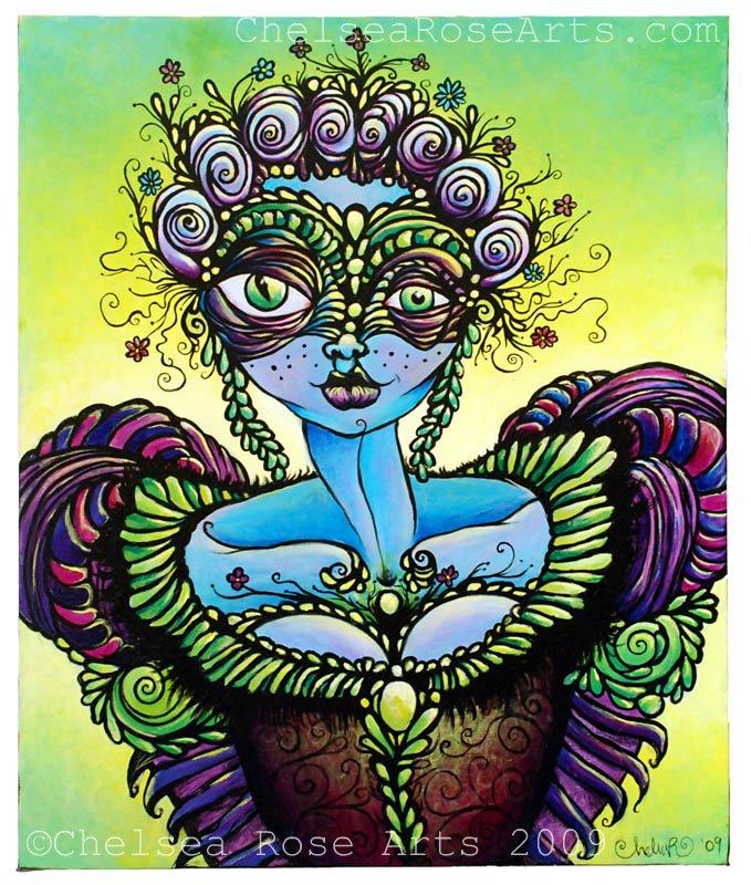 Masquerade Fae-original acrylic painting