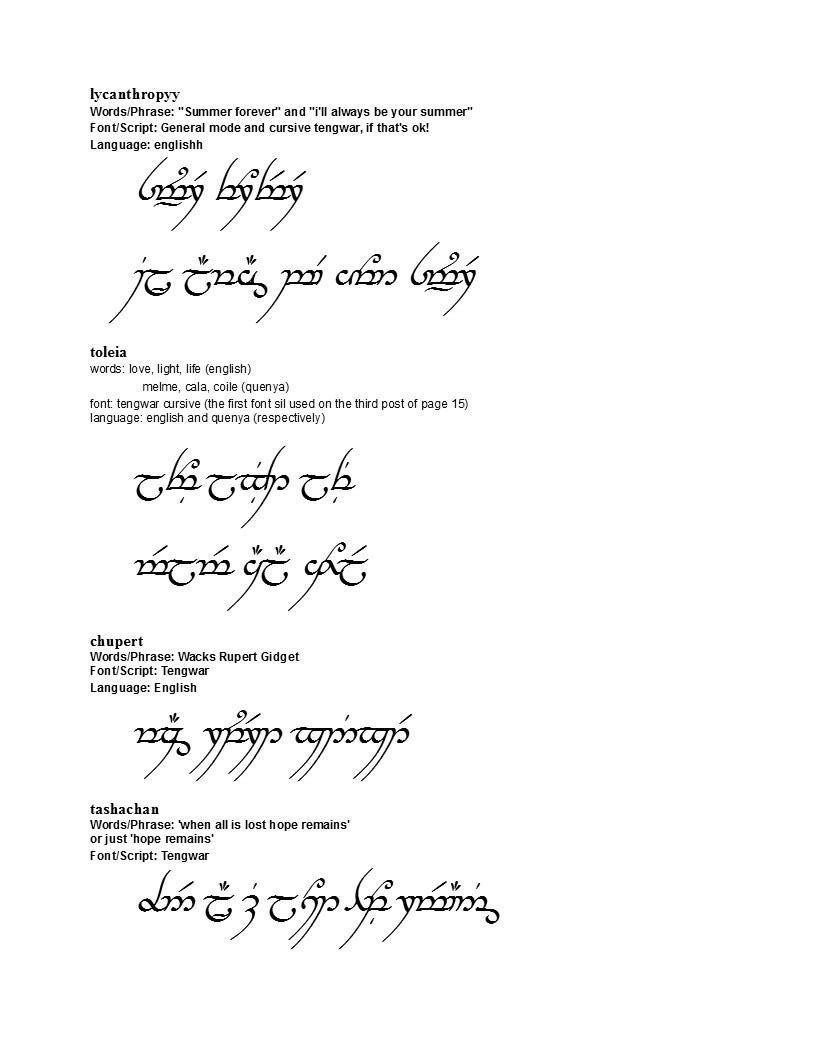 Elvish Tattoo Translation The Image Kid